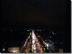Champs Elysees at night from the top of the Arc de Triomphe