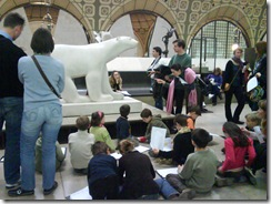School-children learning about art