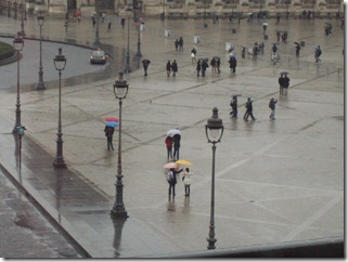 Umbrellas outside the Louvre in Paris